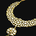 An important diamond-set and enamelled gold parade <b>necklace</b> (Khanti), North India, circa 1850-75