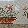 Patchwork : vases et corbeilles fleuris bloc 10