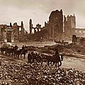 The ruins of the Cloth Hall, Cathedral, and Bishop's Palace, Ypres