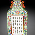 A Lime-<b>green</b> <b>Ground</b> Famille-Rose Wall Vase, Seal Mark and Period of Qianlong (1736-1795)