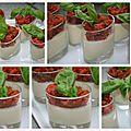 Panna cotta aux asperges, gelée de tomates au basilic
