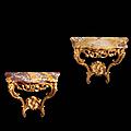 Paire de consoles d'époque Louis XV, <b>estampille</b> de Rabaudin