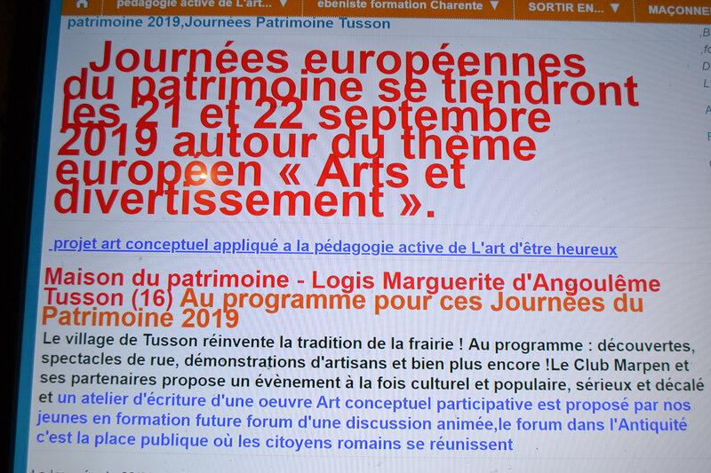 Journées Patrimoine 2019 sortir en Charente