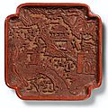 A rare <b>cinnabar</b> <b>lacquer</b> tray with figures, Ming Dynasty, 16th century