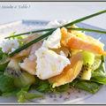 Salade nordique au kiwi , pamplemousse crevette ,saumon, chèvre ...