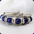 <b>Bracelet</b> <b>Style</b> Tibétain Yeni 6 Perles 10 mm Perles Lapis Lazuli Argent du Tibet
