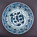 Large serving <b>dish</b> with flowers and <b>grapes</b>, Ming dynasty, Yongle reign, AD1403–1424