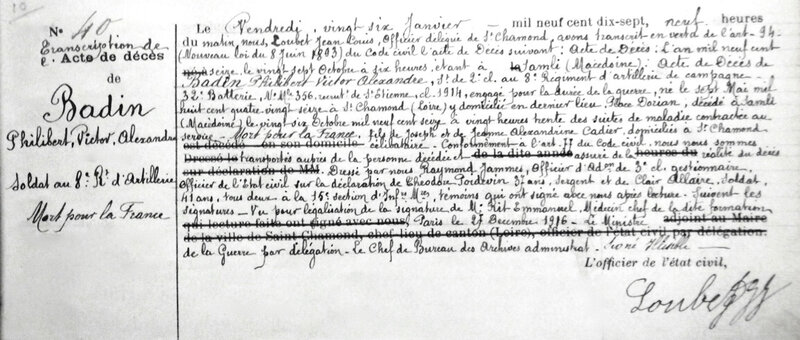 BADIN Philibert, transcription acte de décès