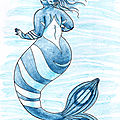 Sirène bleue à bandes blanches - Blue mermaid with white stripes - Mermay 02