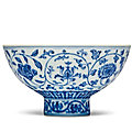A Rare Blue And White 'Floral Scroll' Bowl, <b>Xuande</b> Six-Character Mark and period (1426-1435)