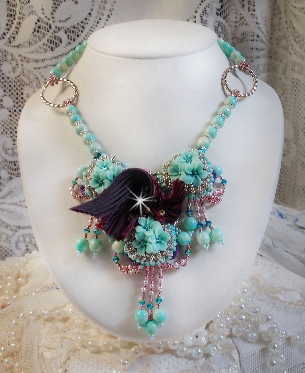 Collier Blue Flowers Haute-Couture