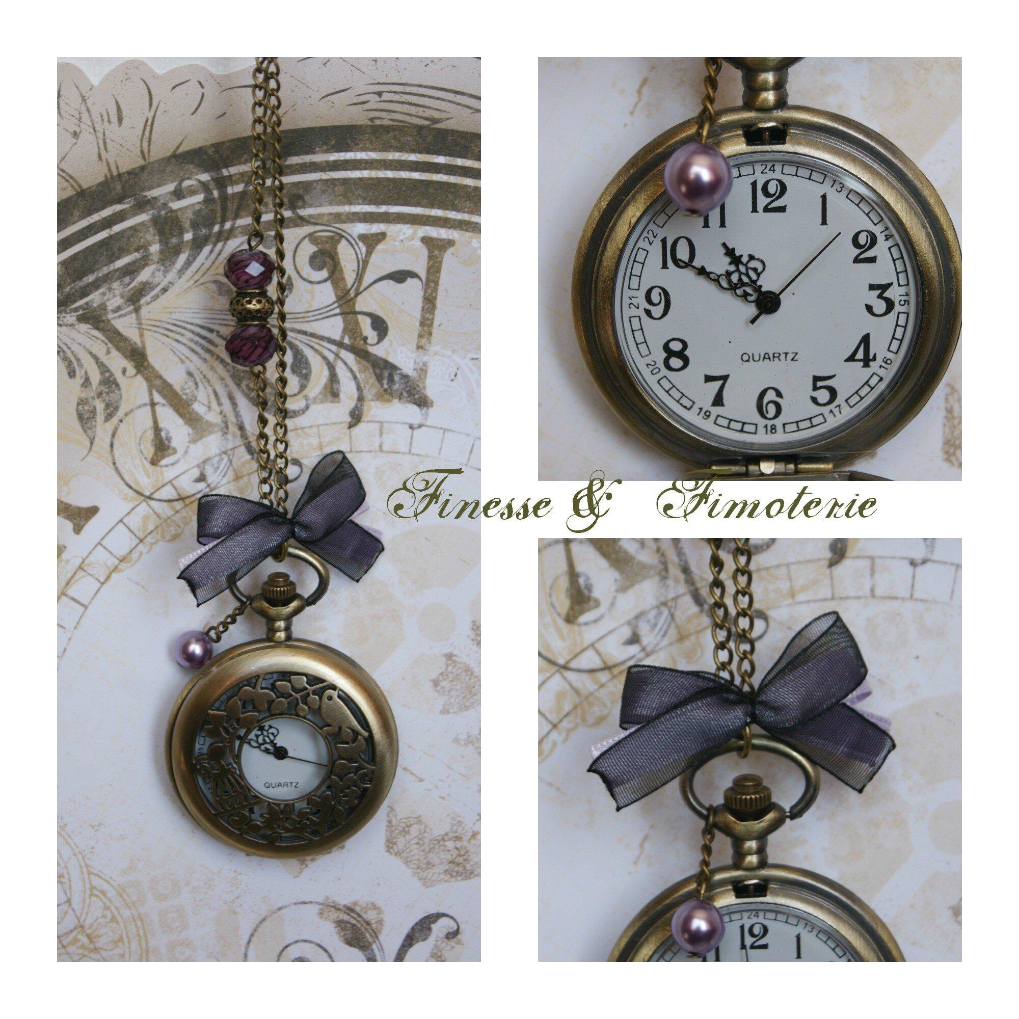 horloge bronze vintage violette