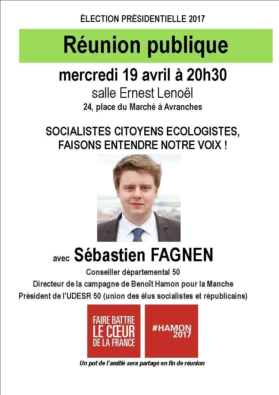 présidentielle 2017 • réunion publique en soutien à Benoît Hamon à Avranches mercredi 19 avril 2017