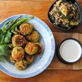 Falafels, sauce lime-tahini et salade quinoa, menthe et orange