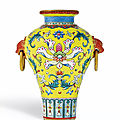 An Exquisite Yellow-Ground Famille-Rose <b>Sgraffiato</b> Miniature Vase, Seal Mark and Period of Qianlong (1736-1795)