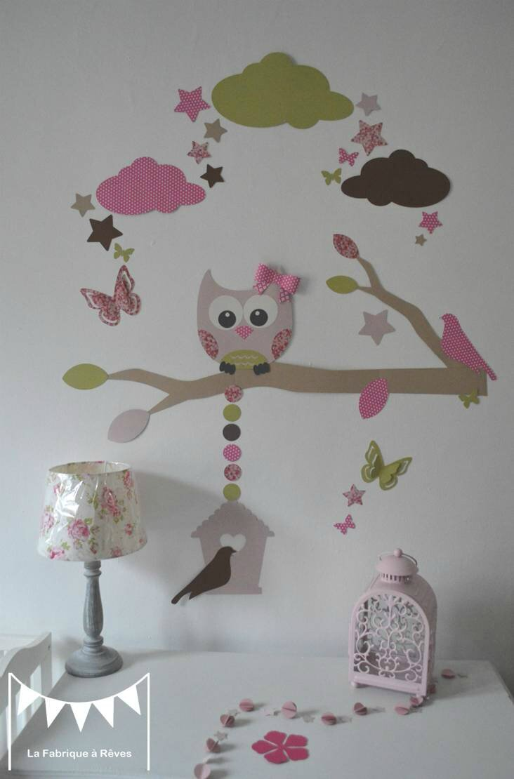 stickers hibou chouette branche nichoir oiseaux papillons toiles nuages rose poudr fuchsia. Black Bedroom Furniture Sets. Home Design Ideas
