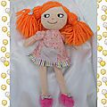 Doudou poupée chiffon cheveux orange robe rose fleurs nicotoy pour monoprix