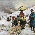 Bachelin, soldats suisses accueillants des réfugiés de la guerre (1870)
