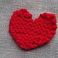 Un peu d'amour ! coeurs tricotés