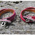 Bracelets Flèche cuir double tour framboise et fushia