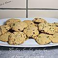 Cookies chocolat, pistache et beurre de cacahuète