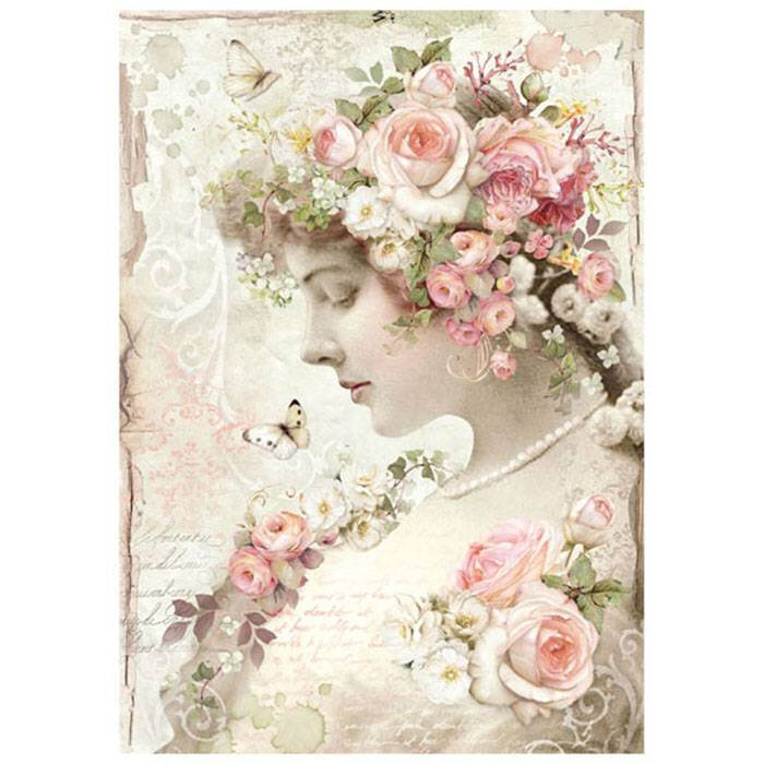 stamperia-rice-paper-a4-floral-profile-roses-dfsa4