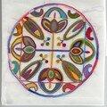 Mandala de printemps brodé