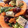 Salade de melon-gorgonzola, condiment de melon au piment d'espelette