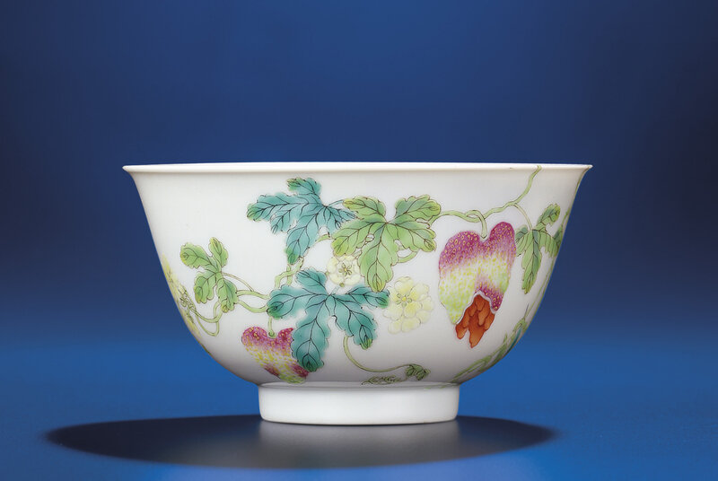 A famille rose 'Pomegranate' bowl , Daoguang six-character seal mark and of the period (1821-1850)