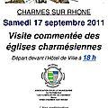 Journées du patrimoine : visite des églises charmésiennes
