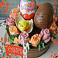 Joyeuses pâques - layer cake nutella/kinder bueno, décor fleurs de crème