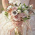 robe , bouquet ,coiffure de mariée