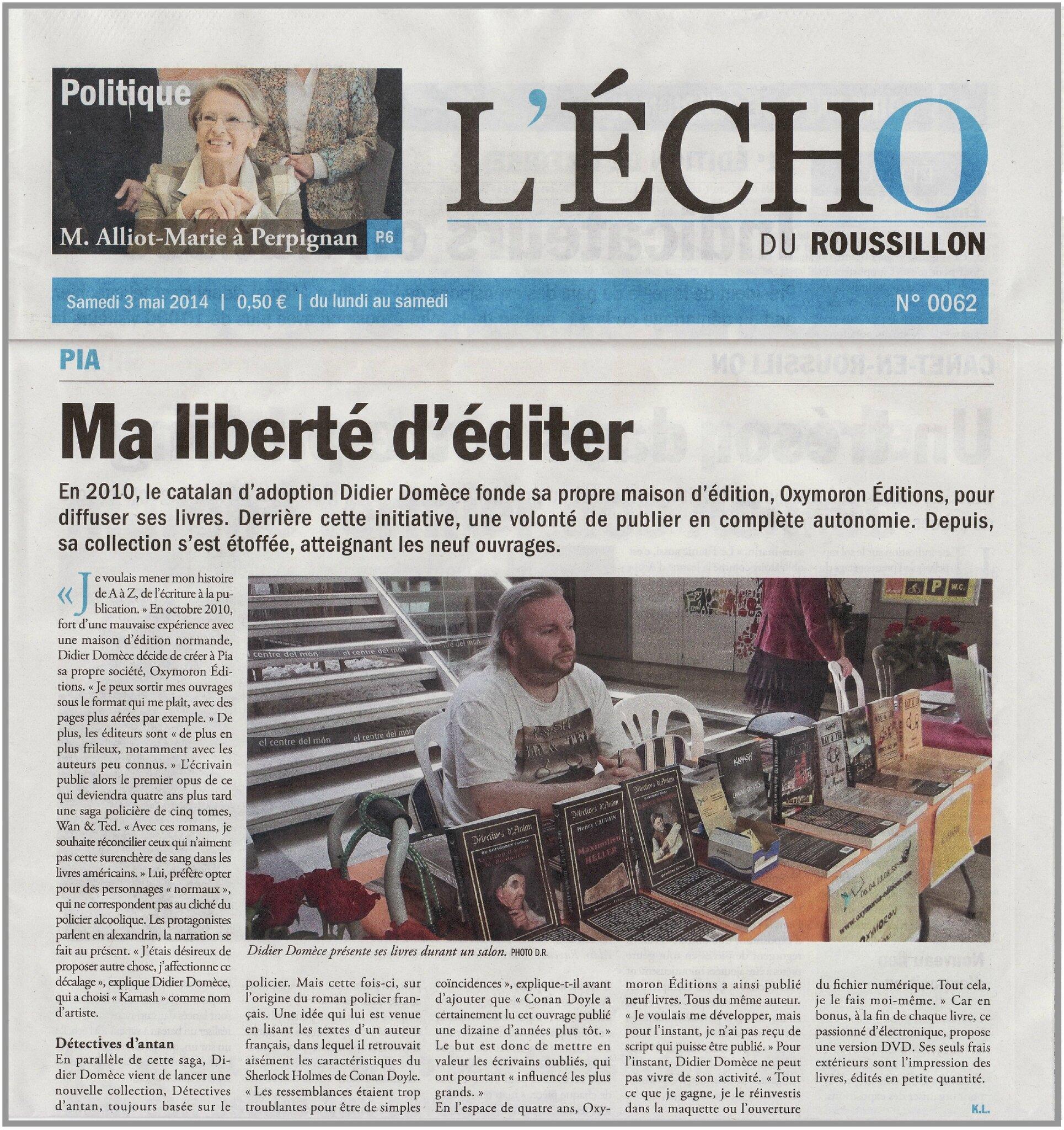 On en parle dans L'écho Roussillon du 3 mai 2014