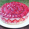 Gâteau crème mousseline à la framboise et fraises fraîches