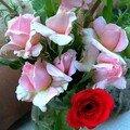 Roses pompon et jeunes tomates
