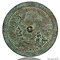 A good bronze mirror with persons and animal in a landscape, China, late Song (960-1279)