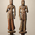 A highly important majestic pair of wood figures of standing <b>bodhisattvas</b>, Five Dynasties-Northern Song dynasty (10th-11th centu