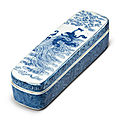 A rare blue and white 'Dragon' pen box and cover, Qing Dynasty, Kangxi Period (1662-1722)