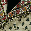 A man's <b>waistcoat</b> (detail), made from a fringed Indian cashmere shawl