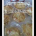 Gratin de champignons au comté et aux saucisses (tm, dm)
