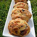 Cookies au chevre, tomates sechees et olives