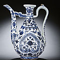An extremely rare early Ming blue and white <b>ewer</b>, Yongle period (1403-1425)