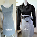 Upcycling d'une robe chasuble en jupe crayon