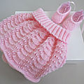 <b>tricot</b> fait main, jupe laine rose et ballerines, tricotees main