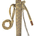 A silver-thread embroidered glass-bead-mounted velvet-clad leather quiver, North India, early <b>19th</b> <b>Century</b>