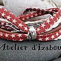Un peu de couleur pour se réchauffer des températures extérieures avec ce <b>bracelet</b> multimatières liberty à étoiles, cuir, corde