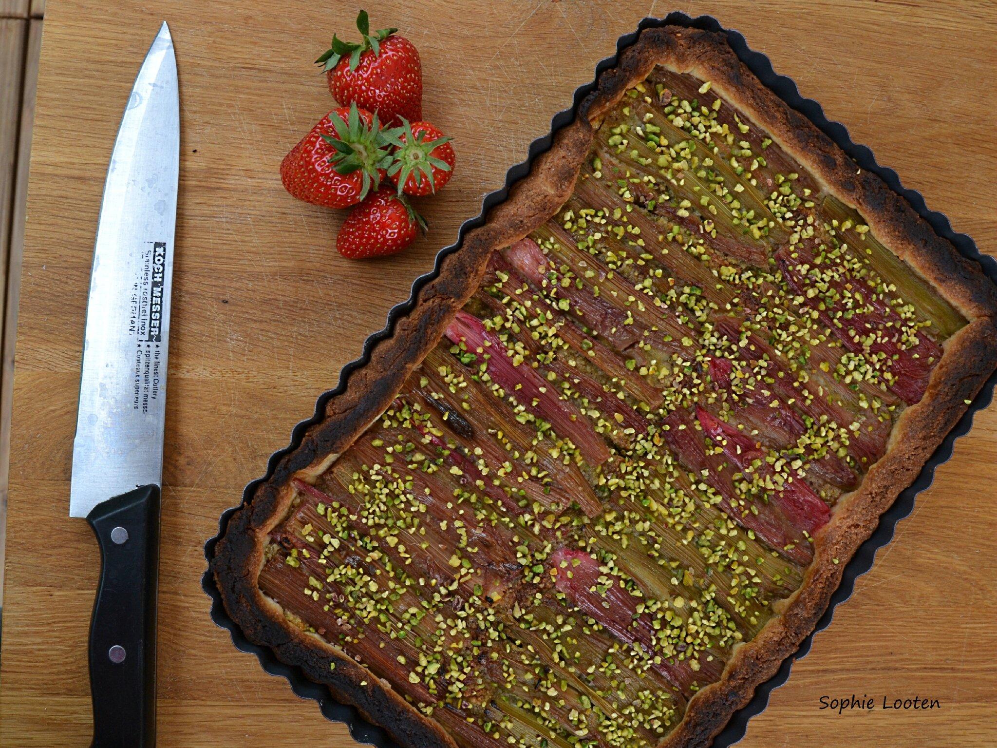 Tarte rhubarbe et pistache