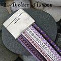 Alliance de couleurs complémentaires et <b>multitextures</b> pour ce <b>bracelet</b> manchette violet, mauve, rose et blanc !