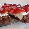Tarte aux fraises sur génoise au chocolat