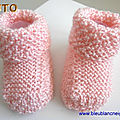 tuto tricot bebe, chaussons roses, point riz, explications